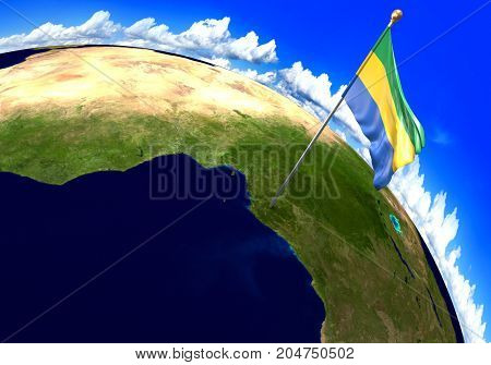 Gabon, national flag marking the country location on world map. 3D rendering, parts of this image furnished by NASA