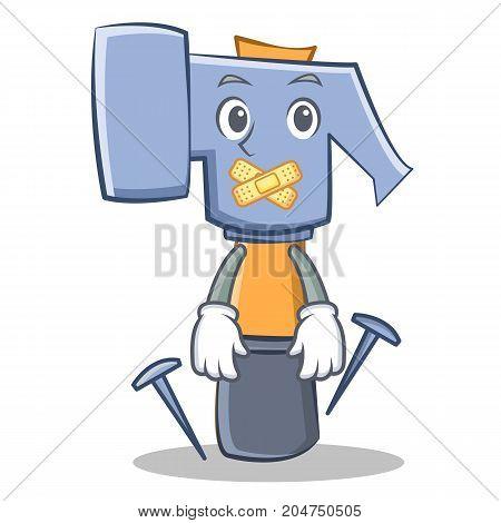 Silent hammer character cartoon emoticon vector illustration