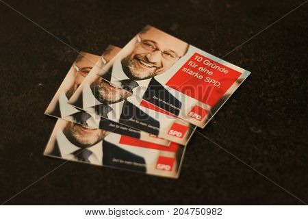 MAGDEBURG, GERMANY . September 18, 2017:  Election campaign cards of Martin Schulz from the German political party SPD. German Elections 2017.