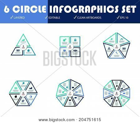 Vector circle arrows for infographic. Template for cycling diagram graph presentation and round chart. Business concept with 3 4 5 6 7 8 options parts steps or processes. Abstract background.