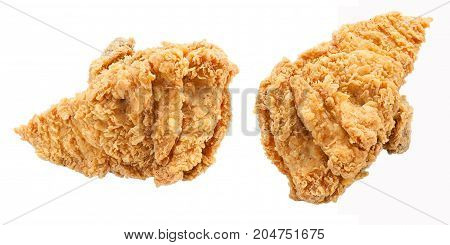 Fried chicken Breast isolated on white background.