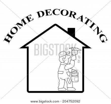 Representation of home decorating isolated on white background