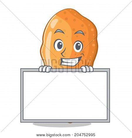 Grinning with board fried chicken character cartoon vector illustration