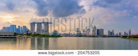 Panorama of Singapore city Cityscape at daylight