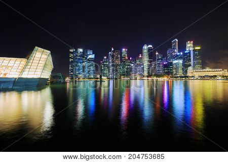 Central Business District Building Of Singapore City At Night