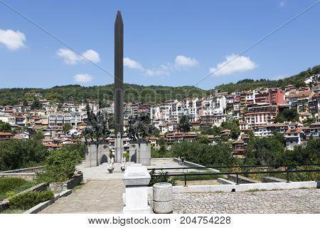 VELIKO TARNOVO, BULGARIA - AUGUST 10, 2017:Monument Asenovtsi in Veliko Tarnovo Bulgaria.
