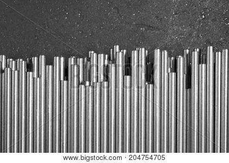 abstract group of metal rod in the factory