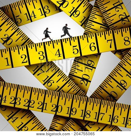 Tape measure crisis and weight control concept as two overweight people on a diet running on a measuring tool in a 3D illustration style.