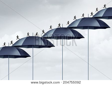 Security increase business safety strategy concept as a group of people running upward with a rising chart of umbrella objects as an employee or career protection bridge with 3D illustration elements.