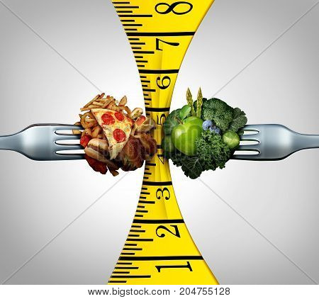 Measuring tape food and weight control squeeze concept as two forks with junk food and healthy fruit and vegetables squeezing a measure tool with 3D illustration elements.