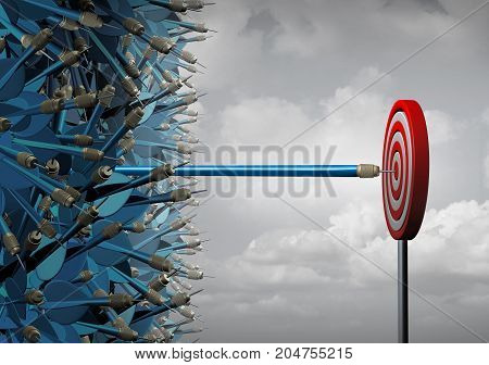 symbol for successful communication and marketing as a group of mixed up darts and a stretched one reaching out in a straight line out away from the pack as a leadership metaphor as a 3D illustration.