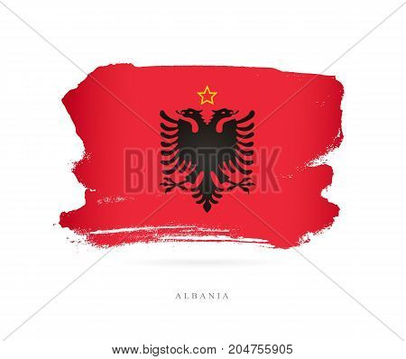 Flag of Albania. Vector illustration on white background. A beautiful brush stroke. Abstract concept. Elements for design.