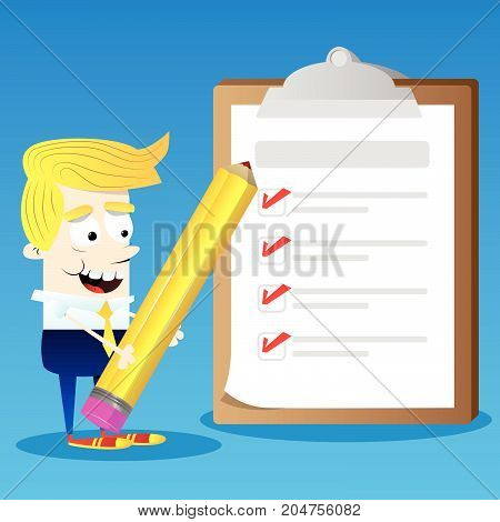 Happy smiling successful business office worker character holding a pencil with completed checklist on clipboard. Vector cartoon illustration.