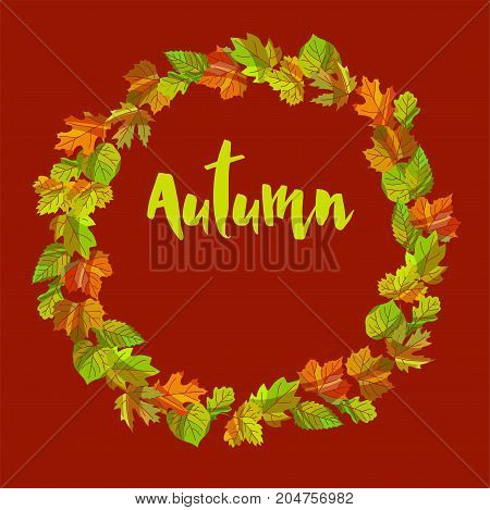 Autumn composition of colorful leaves put in wreath isolated cartoon flat vector illustration on ocher background. Decorative seasonal poster with sign inside circle made of natural objects.