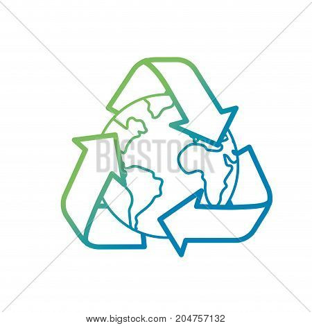 line earth planet with recycle symbol design vector illustration