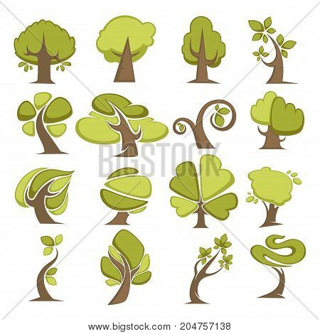 Green trees and tree leaf icons or logo templates. Vector isolated set of maple, oak or elm and spout, maple and cypress forest symbols for eco environment or horticulture planting concept