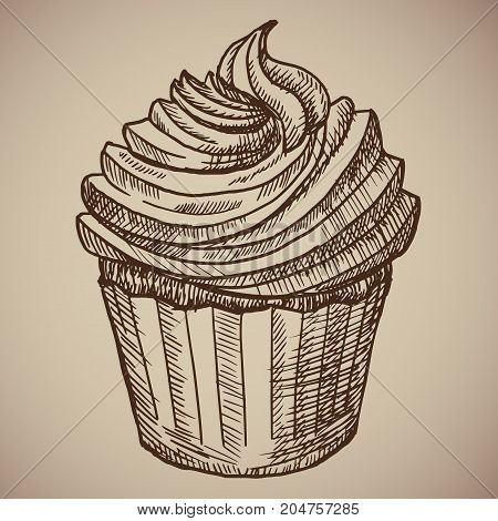 Engraving cupcake. Sweet chocolate cake for breakfast. Engraving menu for the restaurant. Vector illustration. EPS 10.