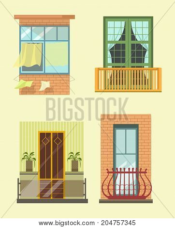 House windows and balcony exterior facade decor of different styles. Glass terrace window with shutters shades or blinds and marquise loggia of modern, old and ancient apartments. Vector flat icons