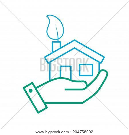 line hand with house with ecological leaf to environment care vector illustration