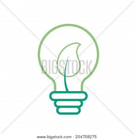 line bulb with leaf inside to ecological symbol vector illustration
