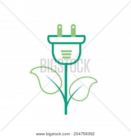 line ecology power cable with natural leaves vector illustration