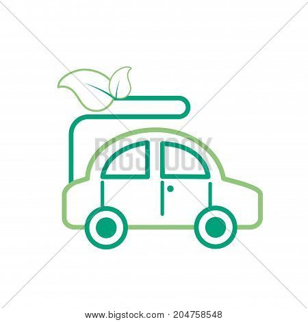 line ecologycal car with leaves to environment care vector illustration