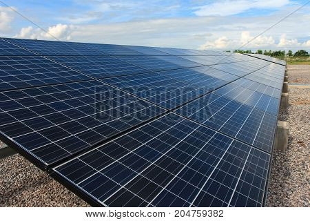Solar panel and blue sky - stock image