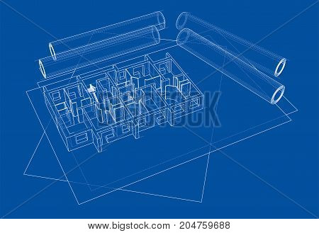 Drawings with floor model. Vector rendering of 3d. Wire-frame style. The layers of visible and invisible lines are separated