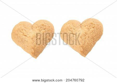 heart shaped cookie - isolated on white background.