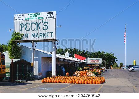 Arena Town Wisconsin USA - September 13 2017: Farm market along Highway 14 near Arena Town Wisconsin United States that sales farm fresh produce and pumpkins for Halloween.