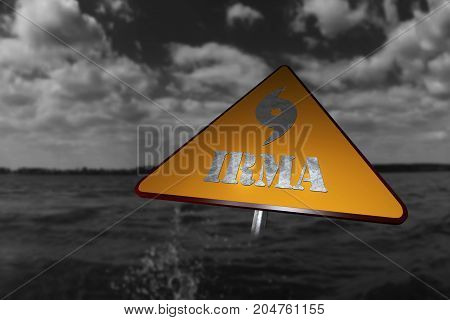 Hurricane Irma Danger Sign And Storm In The Background 3D Rendering