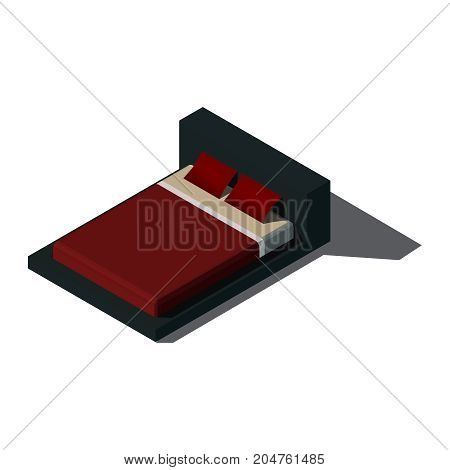 Isometric double bed with mattress and a high back. Vector illustration on a white background. Two pillows on a double bed.