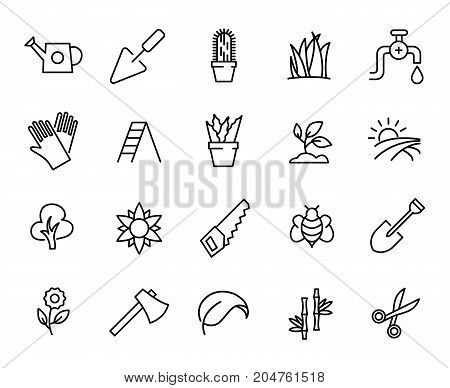 Premium set of garden line icons. Simple pictograms pack. Stroke vector illustration on a white background. Modern outline style icons collection.
