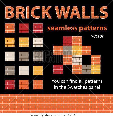 Brick walls seamless textures. Vector patterns for backgrounds or game design