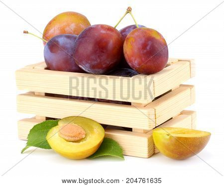 Fresh Plum Fruit In Wooden Box Isolated On White Background