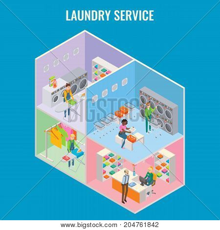 Laundry service vector flat 3d isometric illustration. Cutaway laundry interior with reception, ironing room, commercial and self-service laundry.