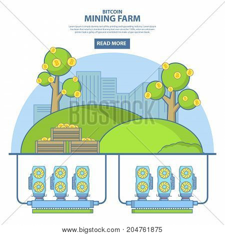 Bitcoin mining farm concept vector illustration. Digital currency or cryptocurrency mining farm. Thin line flat style design template for web banners and printed materials.