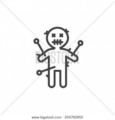 Voodoo doll line icon, outline vector sign, linear style pictogram isolated on white. Halloween holiday Symbol, logo illustration. Editable stroke