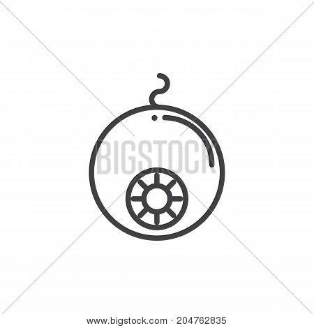 Eyeball line icon, outline vector sign, linear style pictogram isolated on white. Halloween holiday Symbol, logo illustration. Editable stroke