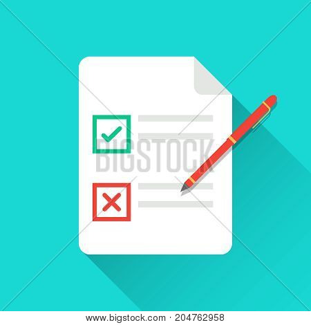 Vector flat document. Modern flat design graphic elements. Singing document, filling form, business contract, application, claim concepts.  Vector illustration isolated.