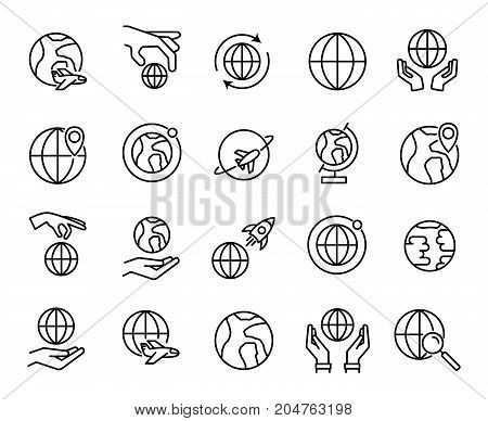 Premium set of globe line icons. Simple pictograms pack. Stroke vector illustration on a white background. Modern outline style icons collection.