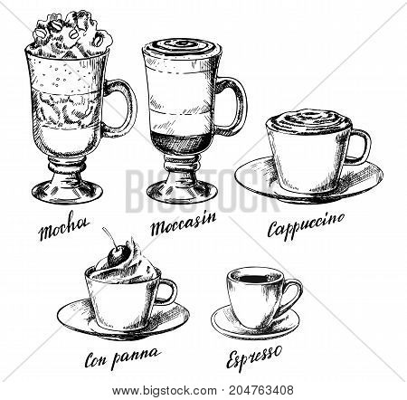 Vector vintage hand drawn illustration of different types of coffee drinks. Mocha, moccasin, cappuccino, con panna and espresso design elements for menu, banner, poster.