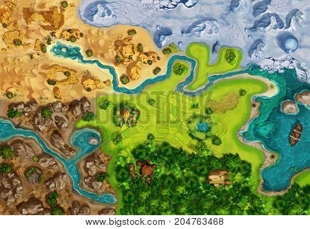 3D illustration Game Map, Game Board, Top View. Medieval Style. Video Game's Digital CG Artwork, Colorful Concept Illustration, Realistic Cartoon Style Background