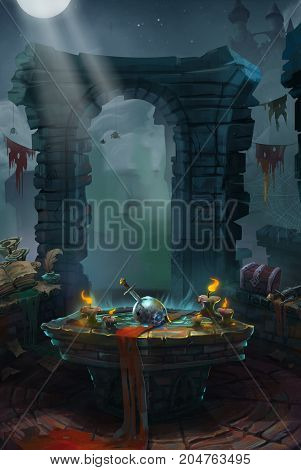 3d illustration Medieval, The Priory or Castle. Video Game's Digital CG Artwork, Colorful Concept Illustration, Realistic Cartoon Style Background