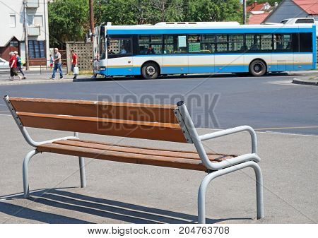 Bench at the bus terminal outdoor in summer