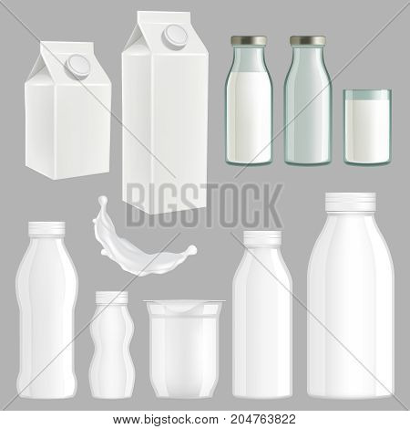 Vector set of realistic milk packaging templates. White creative milk paper, glass and plastic packaging design.
