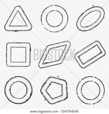 Distress stamp overlay thin stroke texture set. Circle square rhombus triangle pentagon, rectangle, grunge frame shape collection. Empty border print template. Rubber ink trace element. EPS10 vector.