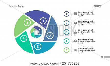 Six steps process chart slide template. Business data. List, diagram, design. Creative concept for infographic, presentation. Can be used for topics like management, production, finance.