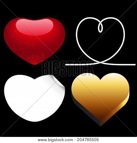 Differences style red heart vector icon isolated love valentine day symbol and romantic design wedding beautiful celebrate bright emotion passion sign illustration.