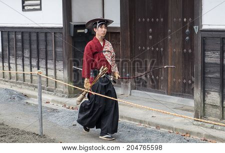 Participant Of Festival Yabusame - A Type Of Mounted Or Horseback Archery In Traditional Japanese St